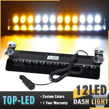 12LED White Amber Emergency Hazard Warning Visor Dash Flash Strobe Light Bar 12V