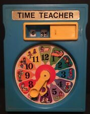 Vintage 1970's TIME TEACHER Clock Blue Plastic Educational Toy Hong Kong RARE