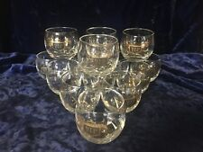 Vintage VIP Roly Poly Clear Glass Drink Tumblers Black & Gold Barware 14 - 8oz
