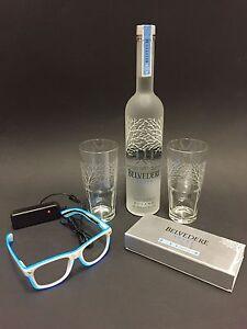 Belvedere Vodka Set 0,7l Flasche + 2 Gläser + Brille + Schwarzlicht Set 40%Vol.
