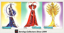 1997 Tempo World Of Barbie Cards Bob Mackie Sketch Card Full Set (3)-Nice!