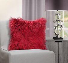 Home Decor Luxurious Soft Shaggy Red Mongolian Faux Fur Cushion Cover 43 X 43cms
