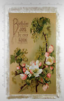 Large Victorian Floral Birthday Fringe Card - Different Art & Greeting Each Side