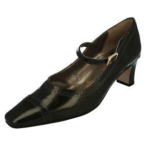 Ladies Elmdale Bronze Patent Leather Mary Jane Block Heel Shoes : Juliet