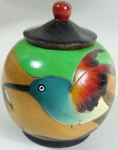 Vtg Folk Art Jar Pot Lid Solid Wood Hand Painted Hummingbird Parrot