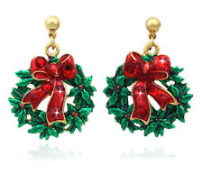 Christmas Wreath Bow Ribbon Poinsettia Stud Post Earrings Jewelry Holiday Gift