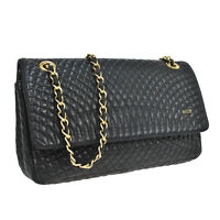 Auth BALLY Quilted Double Flap Chain Shoulder Bag Black Leather Vintage M11458