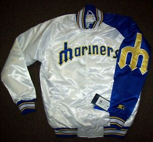 SEATTLE MARINERS MLB STARTER SNAP DOWN Jacket M L XL 2X WHITE with BLUE Trim