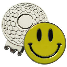 1 x New Magnetic Hat Clip + Yellow Smiley Golf Ball Marker - Golf Hat or Visor