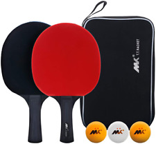 Table Tennis Racket Ping Pong Paddle Set Training Racquet Kit With Portable NEW