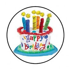 "48 HAPPY BIRTHDAY CAKE ENVELOPE SEALS LABELS STICKERS 1.2"" ROUND"