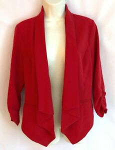Stooshy Juniors XL solid red open front ruched sleeves stretch jacket blazer NWT