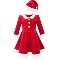 Flower Girl Dress Christmas Hat Red Velvet Long Sleeve Holiday Age 4-14 Years