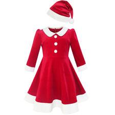 Mädchen Kleid Weihnachten Hut rot Samt Lange Ärmel Urlaub Gr. 98-158