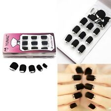 Fashion False Acrylic Black Matting White Joint 24 PCS  Nail Art Gel nail tips