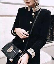ZARA Passementrie Moleskin Velvet Blazer Black Gold Embroidery Sz M Fit XS S 8