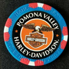 POMONA VALLEY HD~ 25th Ann ~CA~ (Blue/Red) ~ Harley WIDE PRINT Poker Chip