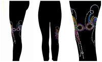 Plus Size Full-Length Leggings Rhinestone & Stud Embellished Mardi Gras Mask