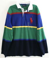 Polo Ralph Lauren Mens Green Blue Striped Big Pony Rugby Zip Shirt NWT Size L