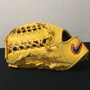 Nike Outfield Baseball Glove Left Throw Yellow Used from Japan (J)