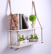 Wooden Wall Mounted Rope Floating Storage Shelf Hanging Shelves Holder 2Tier whi