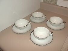 Harmony House China Moderne Coffee Cups & Saucers White Platinum Trim 3545 NWOT