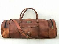 "Leather Camel Hide Large Capacity Travel Luggage Duffle Bag 30"" Men's Genuine"