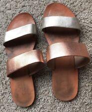 ABLE Women's Slides Sandals Sz 8 Metallic Leather 2 Strap Rose Gold FASHIONABLE