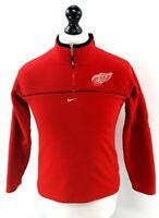 NIKE NHL Boys Jumper Sweater 12-14 Years M Medium Red Polyester 1/4 Zip