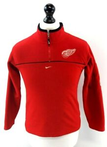 NIKE NHL Boys Jumper Sweater 12-14 Years M Medium Red Polyester 1/4 Zip
