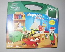 PLAYMOBIL Christmas  5987 take along SANTA Elf WORKSHOP toys pretend carry case