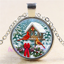 Snow Northern Cardinal Photo Cabochon Glass Tibet Silver Pendant Necklace#B51