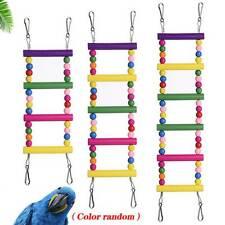 Pets Birds Wood Ladder Hanging Climbing Parrot Bird Toys Rope Parakeet Cableway