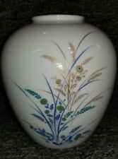Noritake Porcelain Hand Painted Bulbous Vase Floral Gold Tone Rim Made in Japan