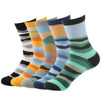 5 Pairs Mens Cotton Socks Lot Novelty Colorful Wave Stripe Casual Dress Socks