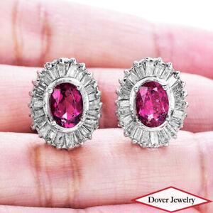 Estate Diamond 2.60ct Topaz 14K Gold Halo Stud Earrings 6.3 Grams NR