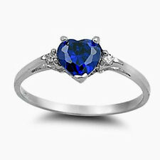 USA Seller Heart Ring Sterling Silver 925 Best Jewelry Blue Sapphire CZ Size 12