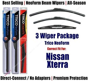 3-Pack Wipers Front & Rear NeoForm fit 2005-2015 Nissan Xterra - 16240/180/12B