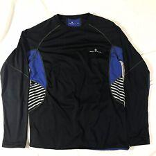 Mens Ronhill Running Long Sleeve Shirt Sz Small Blue Black