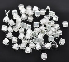 LOT de 80 EMBOUTS PINCES ATTACHE RUBAN à griffes 6 x 8 x 5mm ARGENTES bijoux