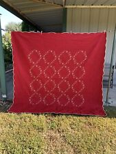 "Red Quilt with 2 pillow shams, Springfield Quilt, 90"" x 90"", Christmas quilt"