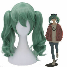 Vocaloid 2017 Album Hatsune Miku Green Curly Wavy Cosplay Wig with Ponytails