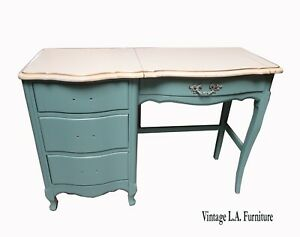 Vintage French Provincial Turquoise Desk Vanity w Mirror