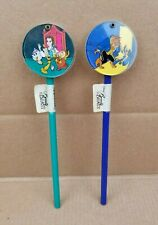 Lot Of 2 Vintage Disney Beauty And The Beast Teeter Topper Pencils New & Unused