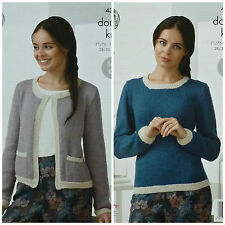 Knitting pattern Donna 2colour BOX Giacca Tasche & Maglione DK KING COLE 4367