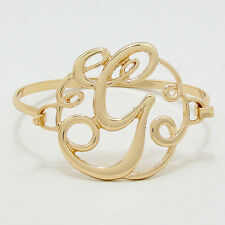 "Monogram Initial Bangle Bracelet GOLD 1.75"" Letter G Hinge Bangle Metal Jewelry"