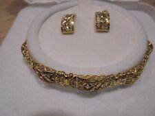 10 KT GOLD  X  DESIGN  LINK BRACELET / EARRING SET  DC