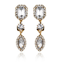 Elegant Women White Rhinestone Crystal Drop Ear Stud Dangle Earrings Jewelry