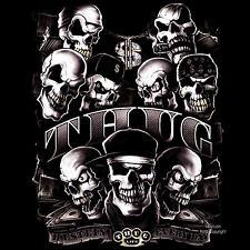 "Rap hip-hop Gothic Skull Biker ""punk"" t-shirt * 4187 BL."