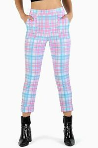 BlackMilk Tartan Angel Cuffed Pants Pink / Blue Pastel Size M Medium